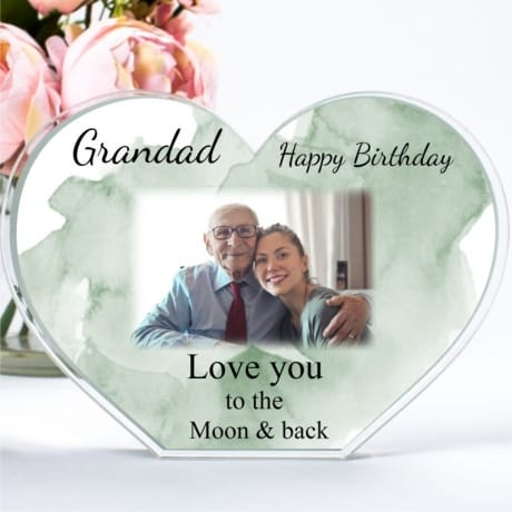 Personalised Acrylic Heart Photo Block - Birthday