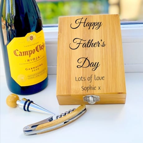 Personalised Wooden Wine Cork Gift Set Design 3