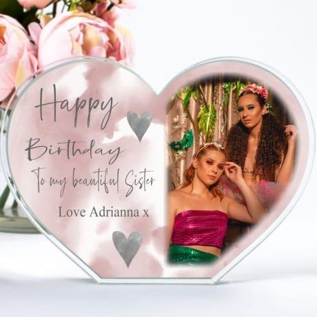 Personalised Heart Sister Birthday Photo Block