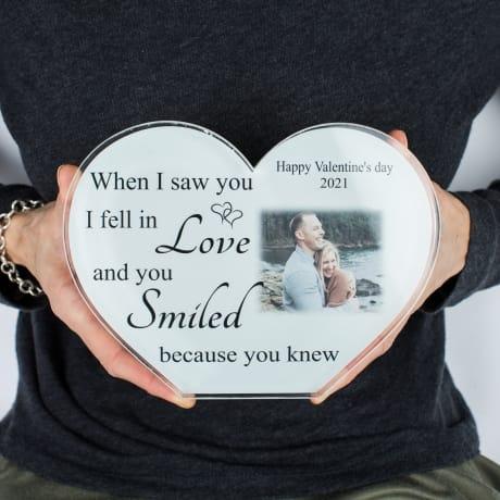 Valentine Personalised Acrylic Heart Photo Block - Love
