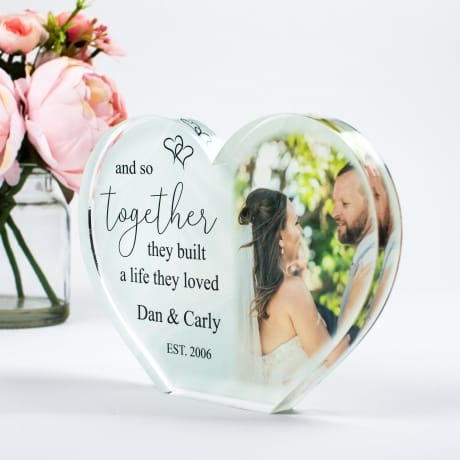 Personalised Acrylic Heart Photo Block - Together