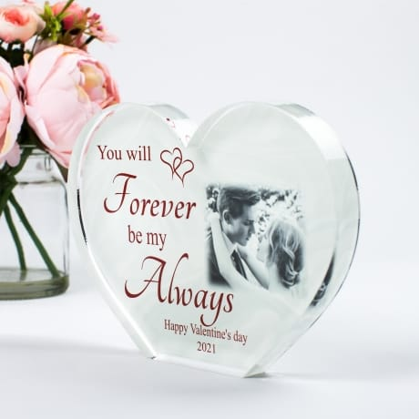 Valentine Personalised Acrylic Heart Photo Block -Forever be my Always