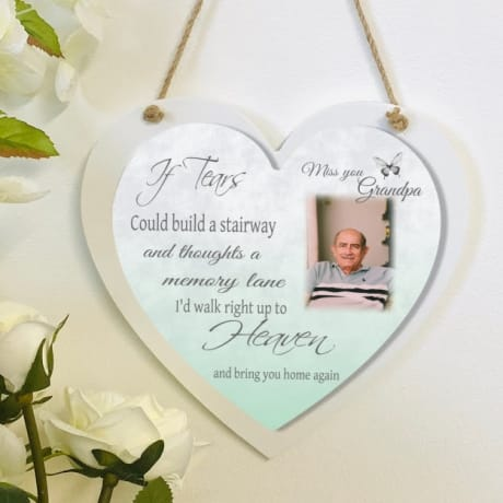 Personalised Deluxe Wooden Heart Heaven Keepsake