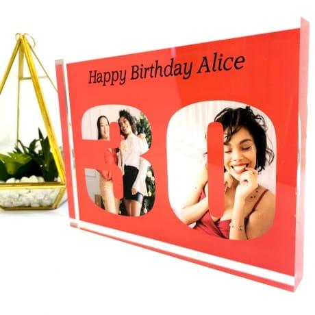 Personalised Photo Block Gift - 30th Birthday