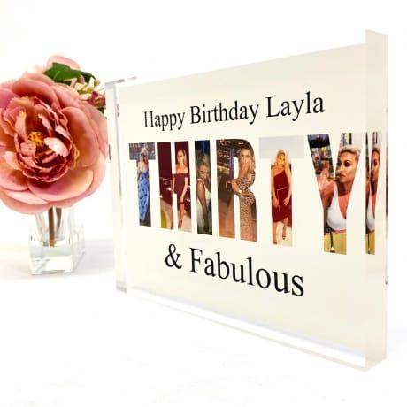 Thirty Birthday Personalised Photo Block