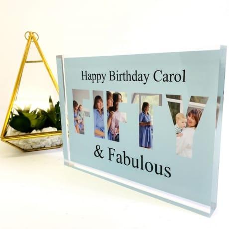 Fifty Birthday Personalised Photo Block