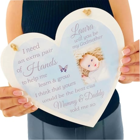 Personalised Deluxe  Wooden Heart Godparent Keepsake