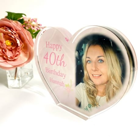 Personalised Acrylic Heart Photo Block - 40th