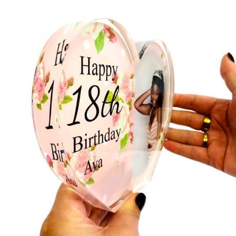 Personalised Acrylic Heart Photo Block - 18th