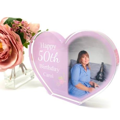 Personalised Acrylic Heart Photo Block - 50th