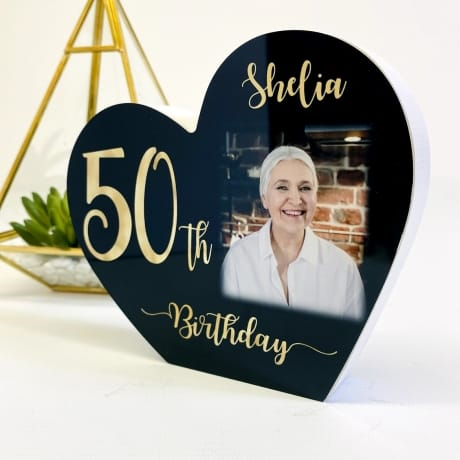 Personalised Black Wooden Heart - 50 Gold