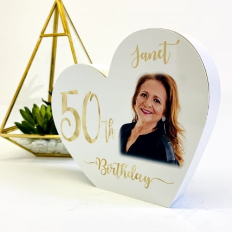 Personalised White Wooden Heart - 50 Gold