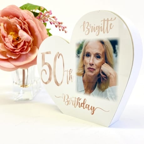 Personalised White Wooden Heart - 50 Rose Gold