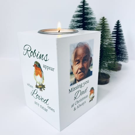 Tealight Holder - Missing You At Christmas Robin