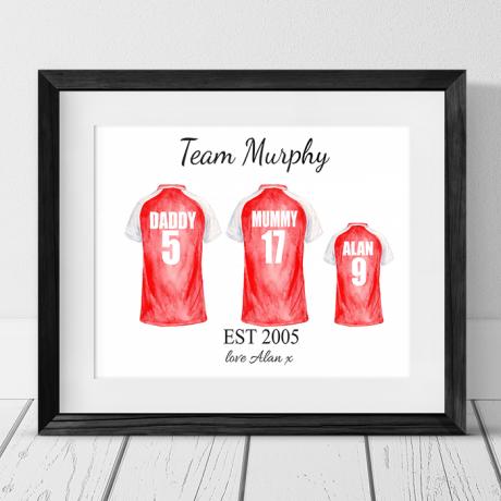 Football Shirt - 3 Team Family Photo Frame