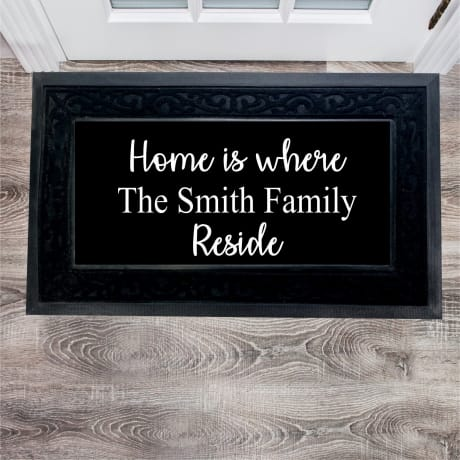 Personalised Home is where the family reside doormat