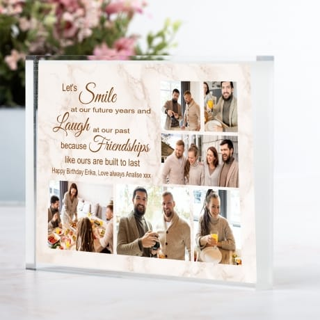 Personalised Friend Photo Block Collage - Let's Smile