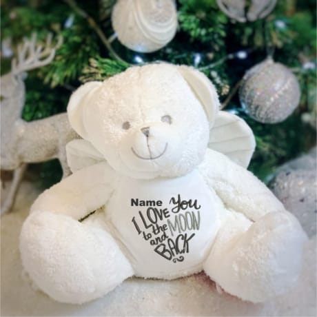 Love You To The Moon And Back Personalised Angel Teddy