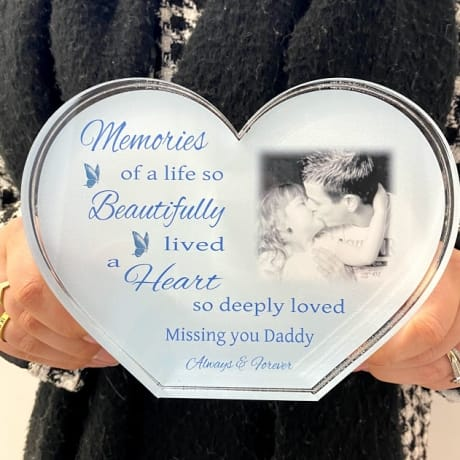 Personalised Acrylic Heart Photo Block - Memories