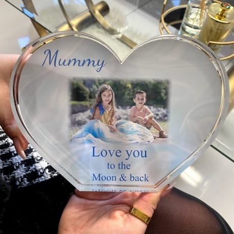 Personalised Acrylic Heart Photo Block - Moon & back