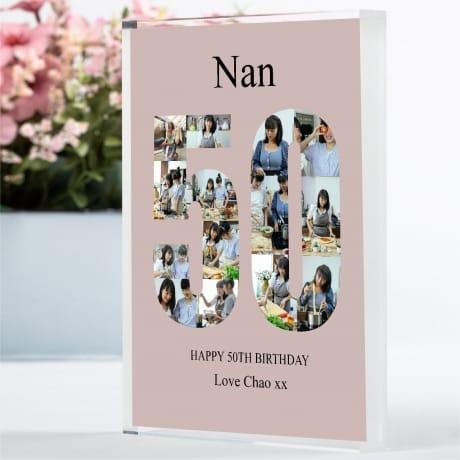 50 Birthday Photo Block Collage- Nan