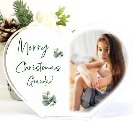 Personalised Acrylic Heart Christmas Block Grandad