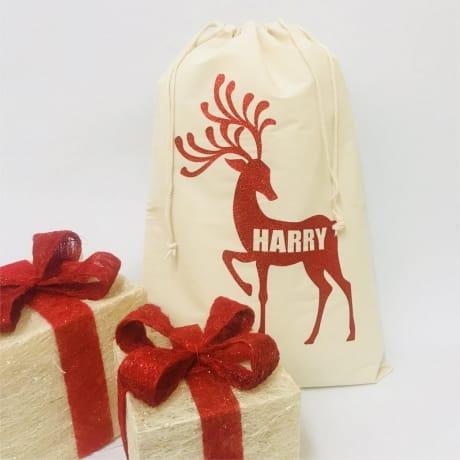 Personalised Santa Sack - Glitter Reindeer