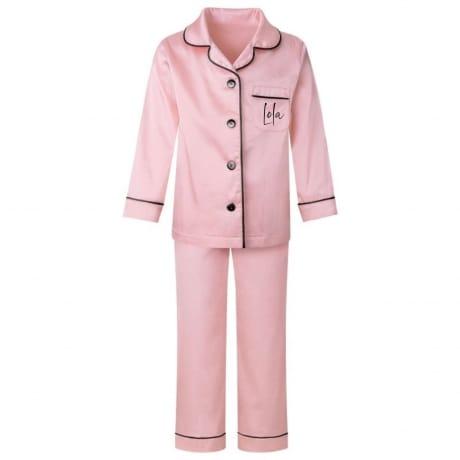 Personalised Pink Luxury Satin Kids Pyjamas