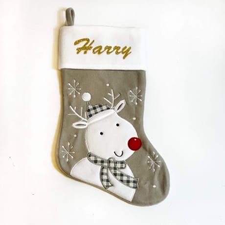Glitter Name Grey Rudolph Stocking