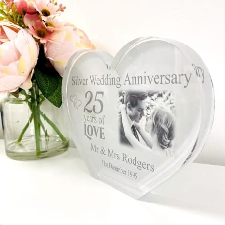 Personalised Acrylic Heart Photo Block - Silver Anniversary