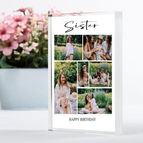 6 photo Birthday Photo Block Collage - Sisters