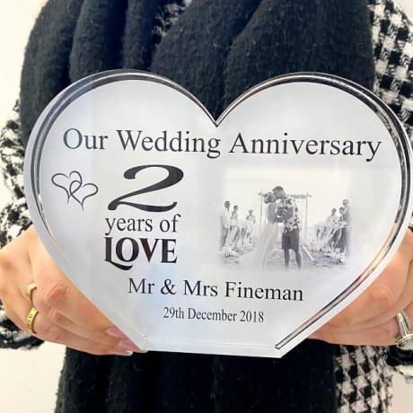Personalised Acrylic Heart Photo Block - Anniversary