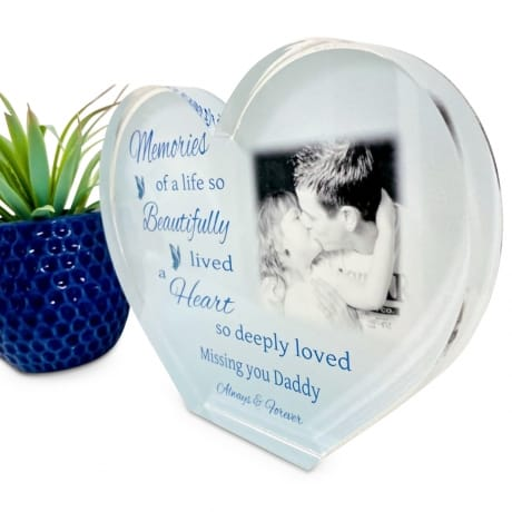 Personalised Acrylic Heart Photo Block - Memories