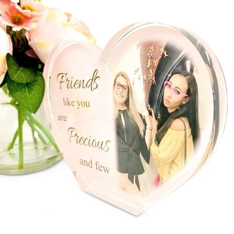 Personalised Acrylic Heart Photo Block - Friends