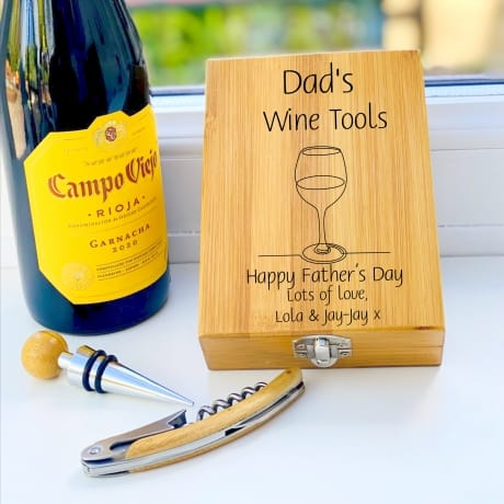 Personalised Wooden Wine Cork Gift Set Design 2