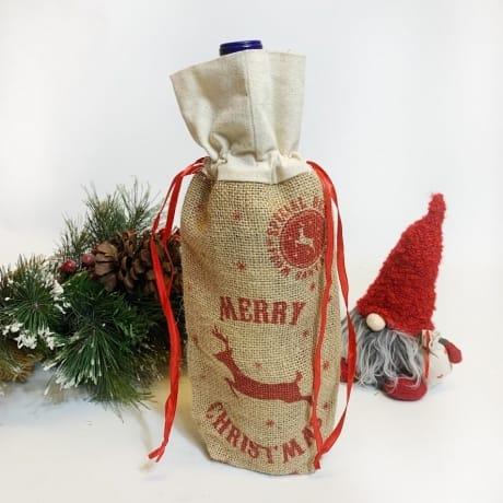 Bottle bag - Hessian, Merry Christmas
