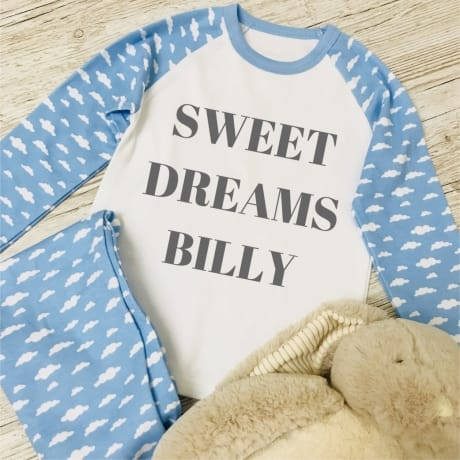 Personalised Children's Pyjamas - Sweet dreams in Blue or Pink
