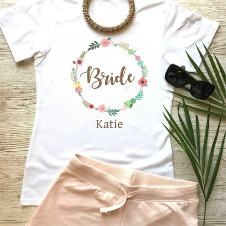 Wedding party personalised floral lounge wear for the Bride