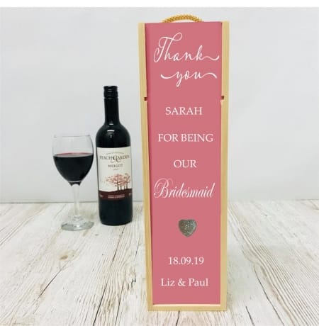 Bridesmaid / Maid of honour personalised thank you wedding gift wine bottle box