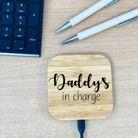 Personalised Wooden Charging Pad Design 1