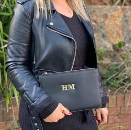 Personalised Black Luxury Clutch Bag