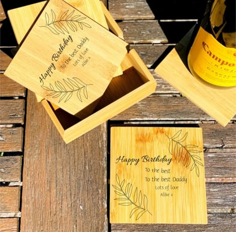 Personalised Wooden Coasters Set of 4 Design 3