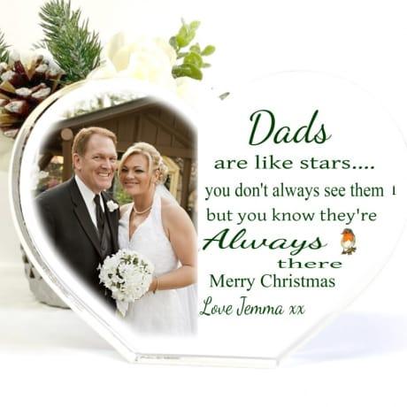 Christmas Acrylic Heart Block -Dads are like Stars