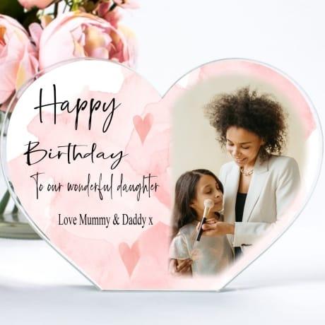 Personalised Heart Daughter Birthday Photo Block