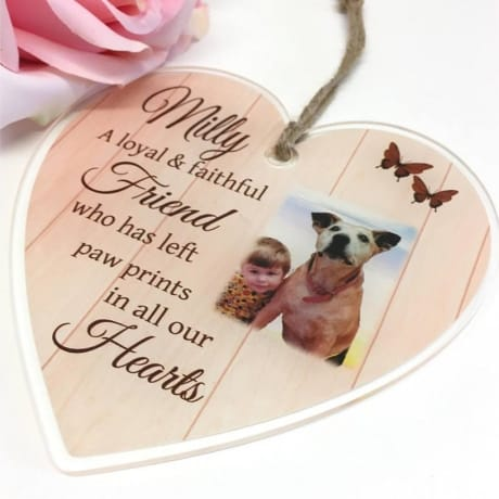 Personalised Large Acrylic Heart - Pet remembrance