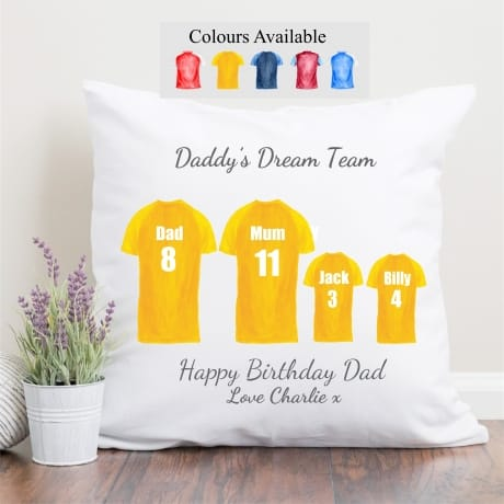 Personalised Family of 4 Football Team cushion