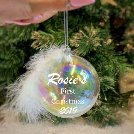 First Christmas - Personalised Feather Bauble