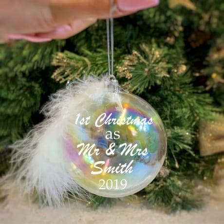 Mr & Mrs - Personalised Feather Bauble