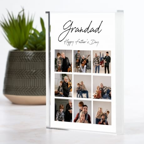 9 Photo Personalised Father's Day Photo Block