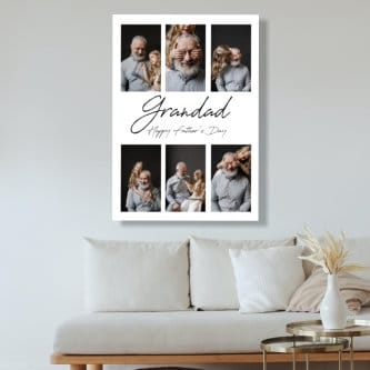 6 Photo Personalised Father's Day Canvas